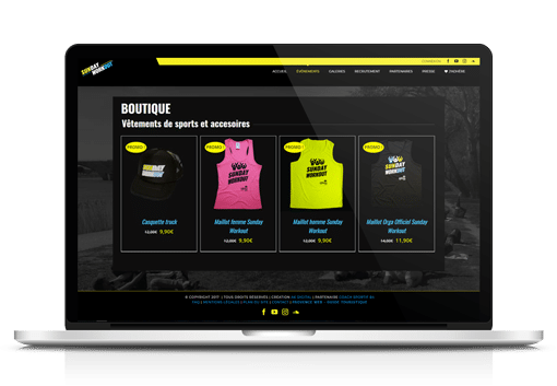 Exemple de realisation de boutique en ligne client Sunday Workout