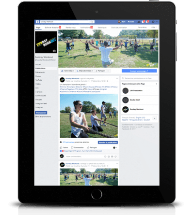 facebook sunday workout sur Ipad agence ak digital avignon