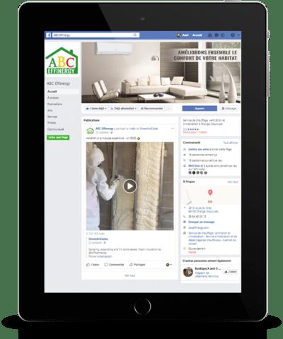 Création d'une page Facebook pro pour ABC Effinergy realisation agence de communication AK Digital Avignon